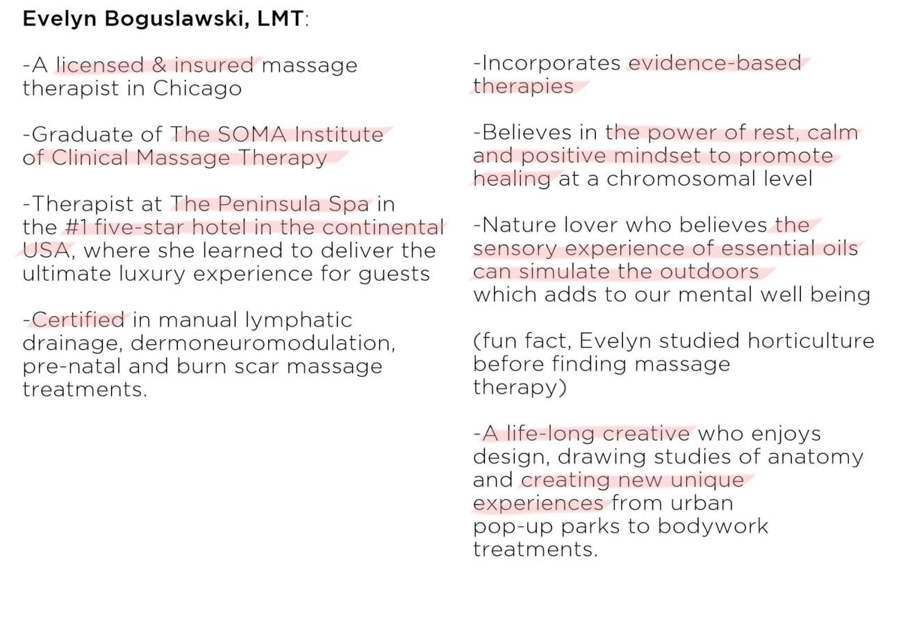 who is your massage therapist blurb